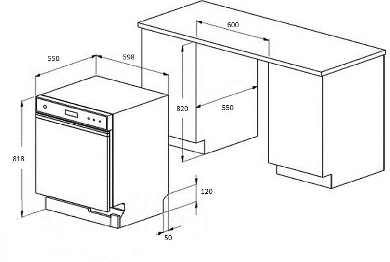 Схема ниши под посудомойку