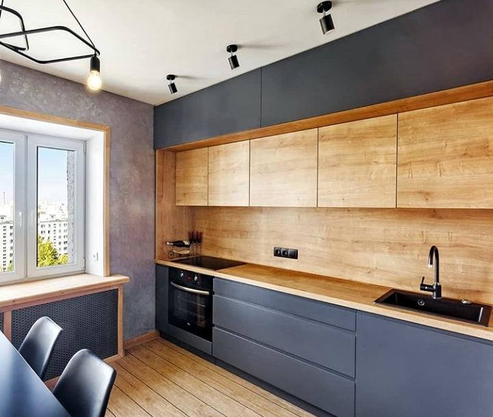 Кухня бетон дерево